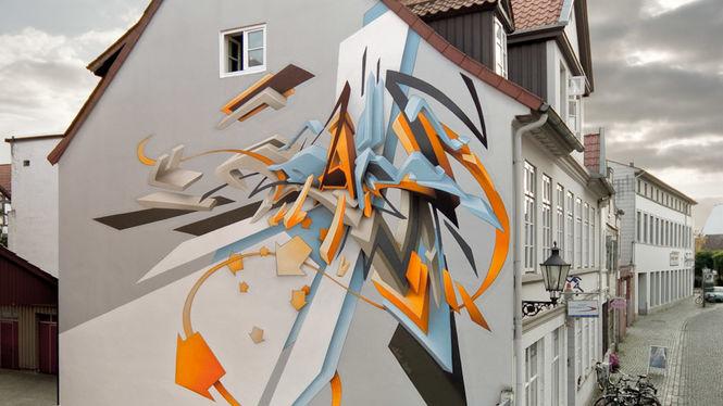 "Artist: Mirko Reisser (DAIM) | ""DAIM around"" | 11 x 9,8 m | Lueneburg / Germany |  10.2009 | ARTotale - Leuphana Urban Art Project"